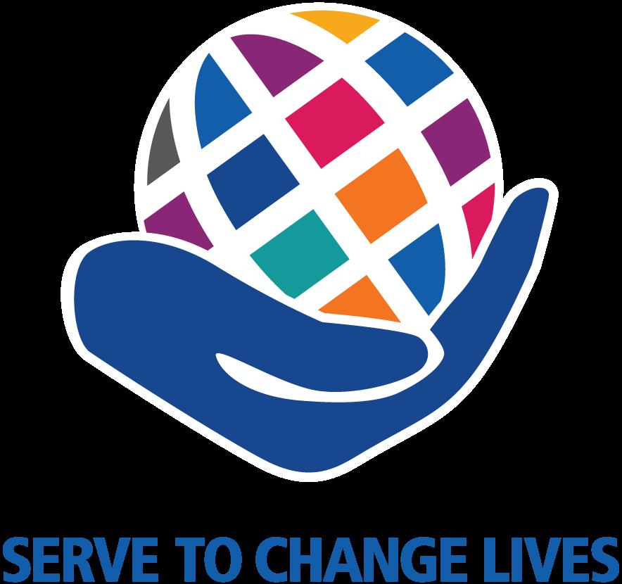bilden visar temat för rotaryåret 2021-22. En hand som håller i en glob och med tema texten Serve to Change Lives